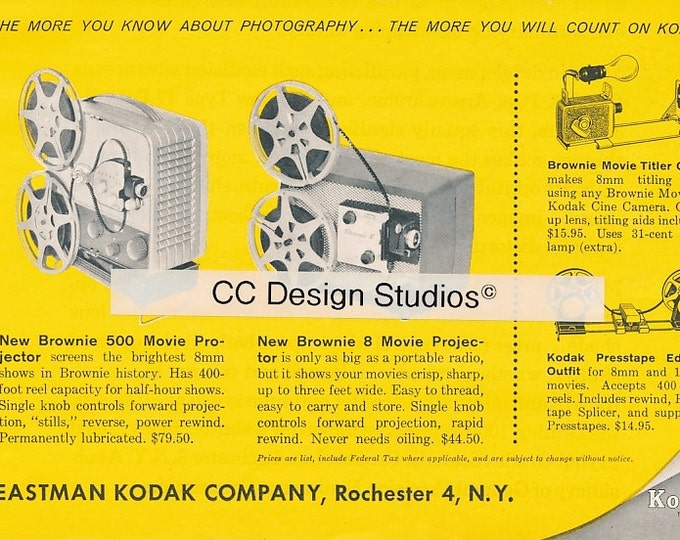 Vintage Kodak Magazine Ad 1960 - Collectible Photography Ad - Brownie Movie Projectors - Made in the USA - Approx. 8 x 5.5 inches