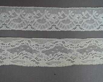 Vintage Lace Trim, Ivory Cotton 2 LaceTrims Remnants Dress Blouse Lingerie 1920s 1930s