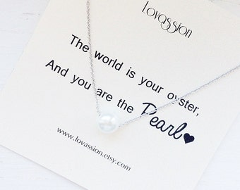 Pearl Necklace, tiny pearl necklace, gold pearl necklace, silver pearl necklace, bridesmaid gift, dainty pearl necklace