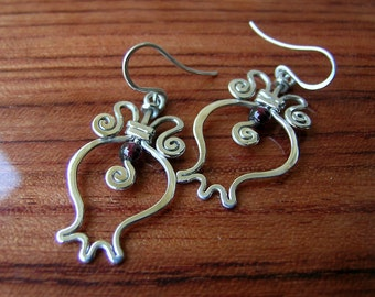 Sterling silver pomegranate handcrafted earrings with garnet gem
