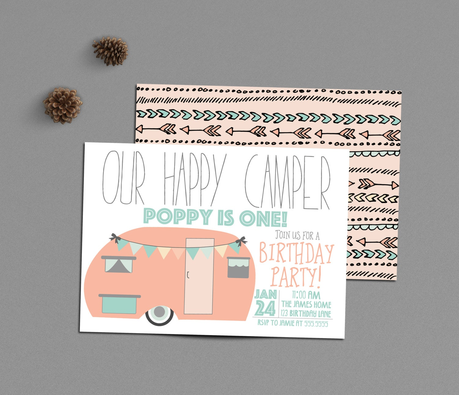 Happy camper birthday invitation girl camping party 1st zoom stopboris Images