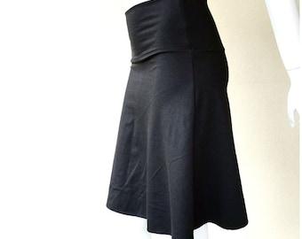 Basic aline skirt, short skirt, black skirt, organic cotton skirt, more colors, handmade organic clothing