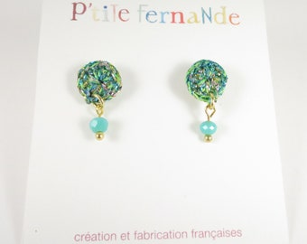 Bright turquoise crochet round earrings