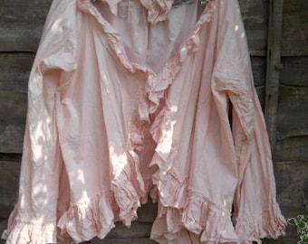 Peony Pink cotton Jacket coat festival fashion boho prairie junking gypsy hand dyed RitaNoTiara made to order glamping OSFA southern gothic