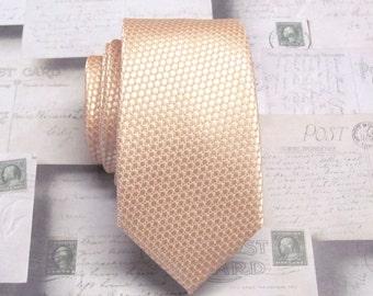 Men's Tie. Skinny Tie. Pastel Peach Blush Oval Patterned Skinny Necktie