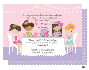 Girls Tea Party Invitation, Dress Up Tea Invitations,  Tea for Two, Boas, Pearls and Hats, Printed or Printable