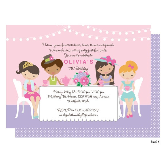 girls tea party invitations koni polycode co