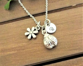 LADYBUG and flower charm necklace - all in silver tone - personalized with initial charm - choice of chains - ladybird necklace