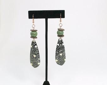 Tribal Earrings, Beaded Earrings, African Earrings, Copper, Green Earrings