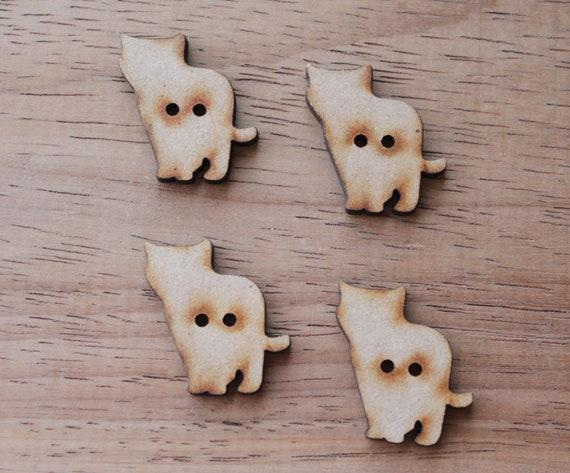 4 Craft Wood Kitten Buttons, 2.5 cm Wide, Laser Cut Wood