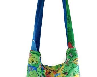 United states bag, wanderlust purse, map purse, world map purse, hobo bag, boho bag, crossbody bags, 50 states bag, slouch bag, market bag