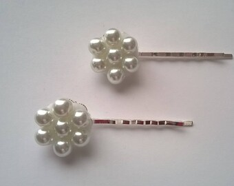 White Glass Pearl Bobby Pins - One Pair - Silverplated Bobby Pins -  Wedding, Bridesmaid, Prom, Quinceanera  - OOAK Hair Accessory