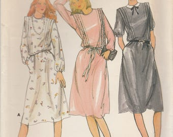 Sweet 80s Dress Pattern Butterick 3480 Size 14 Uncut