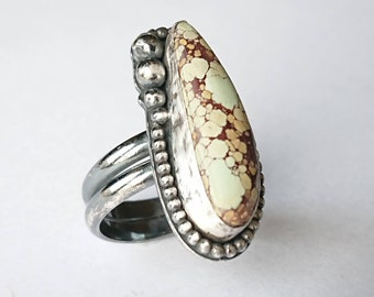 Sterling silver handmade treasure mountain turquiose oxidised statement ring, hallmarked in Edinburgh
