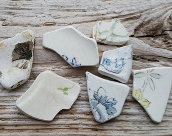 Old Beach Pottery - Sea Pottery - Sea Pottery Shards -  Patterned Shard Of Baltic Sea
