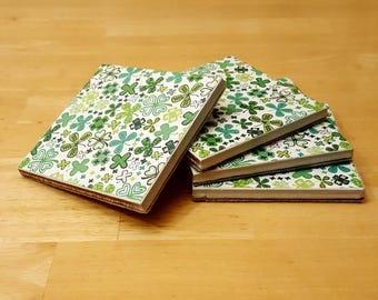 Coasters, Flower Clover Decor, Coaster Set, Tile Coasters, Housewarming Gift, Home Decor, Gift Idea, Ceramic Tile Coasters, Birthday Gift