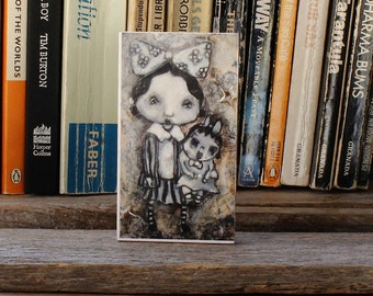 mini art print, 'Vintage Girl and her Doll', open editon, block mounted