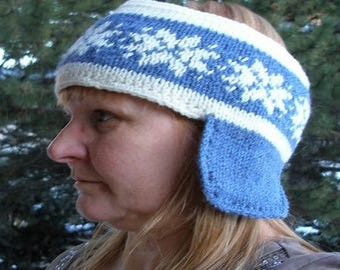 Blue and white jacquard headband