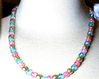 25% OFF SALE Vintage Necklace Pink Blue Beads and Faux Pearls