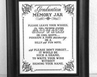 Graduation Memory Jar- Wishes- Guest Book Sign- Graduation Sign - Single Sheet (Style: GRAD JAR)
