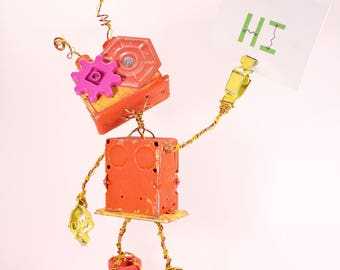 Lobu, Bot Number: 20171011. Hand Painted Robot Sculpture. Found Object Art. Metal Sculpture. Electrical Boxes. Photo Holder. Lee Bots