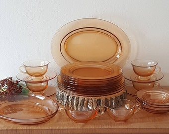 Fostoria Pioneer Amber Dinnerware 24 Piece Set for 4 Amber Pink Dinnerware Made in America 1926-1941 & Mid Century Household Treasures by ParkwoodTreasures on Etsy