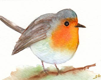 ACEO Original Robin Watercolor Painting,Bird Painting,Wall Art,Decoration,Small Watercolor Painting,Original ACEO Bird,Redbreast painting,
