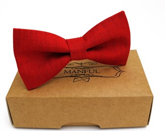 Red bow tie, wedding necktie, linen necktie,  groomsmen necktie,  red necktie, red bow tie for men