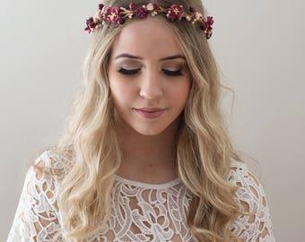 Burgundy Flower Crown- Marsala Wedding Crown- Burgundy Bridesmaid- Fall Wedding Headpiece- Burgundy Floral Crown- Boho Flower Crown- Autumn