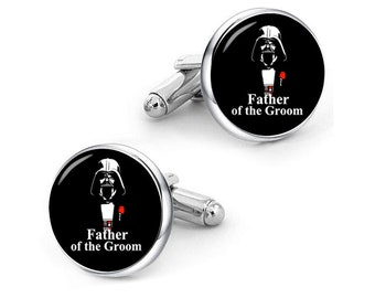 Father Of The Groom Cufflinks, Dark Father, Star Fans, Custom Any Text, Personalized Cufflinks, Custom Wedding Cufflinks, Groom Cufflinks