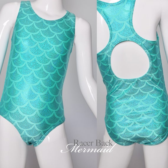 Girls Swimsuit. Metallic Mermaid Racer Back Bathing Suit, With Open Back. One Piece Swim Suit, Gymnastics, Dance and Swim wear