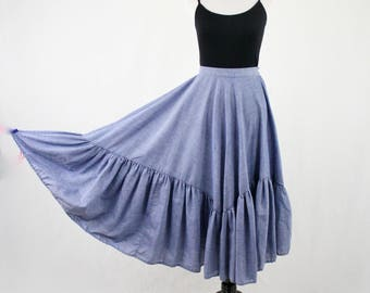 1980s Chambray Peasant Prairie Full Ruffled Skirt by Italian Dressing Company