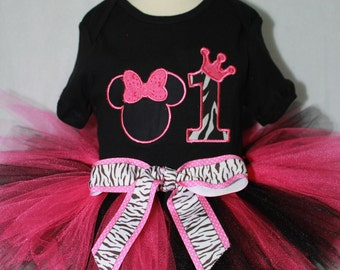 Disney, Minnie Mouse, girl first birthday, girls 1st birthday, pink, black, bodysuit, baby tutu, birthday hat, baby bibs, baby girl clothes