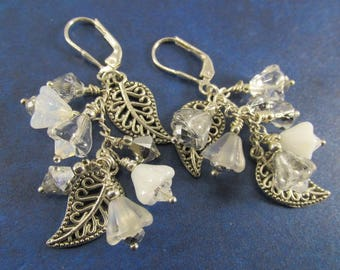 White and Silver Multi-Dangle Earrings with Czech Glass Flowers and Antique Silver Leaves on Sterling Silver Lever Backs