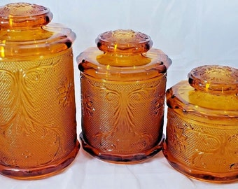 VINTAGE TIARA INDIANA  Sandwich Glass Amber Canister set of 3 Complete! Excellent Condition