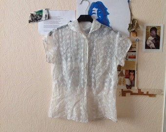 50s White Sheer Blouse Peter Pan Collar Short Sleeve Embroidered US 4/6 Small Medium
