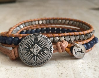 Navy & Silver Leather Wrap Bracelet // Stackable Beaded Bracelet // Aztec Jewelry