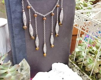 Silver tiger eye necklace - Bib statement necklace - fringe necklace - choker fringe necklace - stone necklace