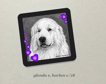 Great Pyrenees Dog Drawing on a Refrigerator Magnet