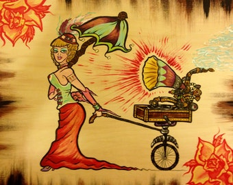SteamPunk Pinup Lady and Mobile Phonograph