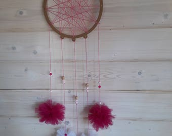 DreamCatcher - adorned with tulle PomPoms