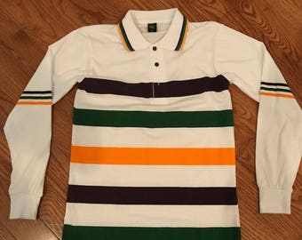 Next day local courier delivery available - White Mardi Gras Polo Style Long Sleeve