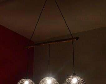 Rustic chandelier lighting. Triple chandelier lamp. String chandelier light, Twine Modern chandelier. Ball Hemp Lighting. Livingroom Lamp.