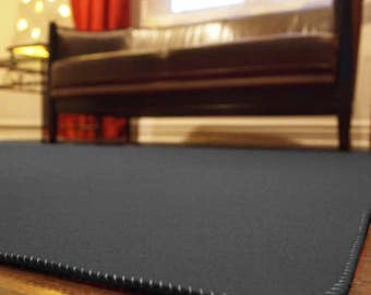 Charcoal Designer Wool Felt Area Rug - 100% Wool, Multiple Sizes Available, Felt Rug