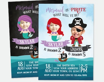 Mermaid and Pirate Invitation with photos, Sibling Birthday Party, Under the Sea Birthday Invitation, Personalized Invitation, 3 options