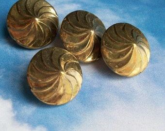 8 large hollow raw brass beads with swirl design, distressed, 23mm, c03