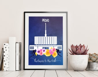 Provo LDS Mormon Temple Watercolor ART PRINT - Multiple Sizes Available - Wedding Gift, Baptism Gift, Gift for Wife