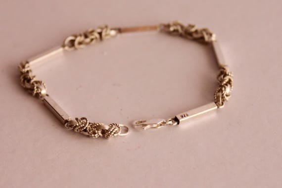 925 SILVER BRACELET, Vintage Handmade Bracelet, Silver 80's Chain Bracelet