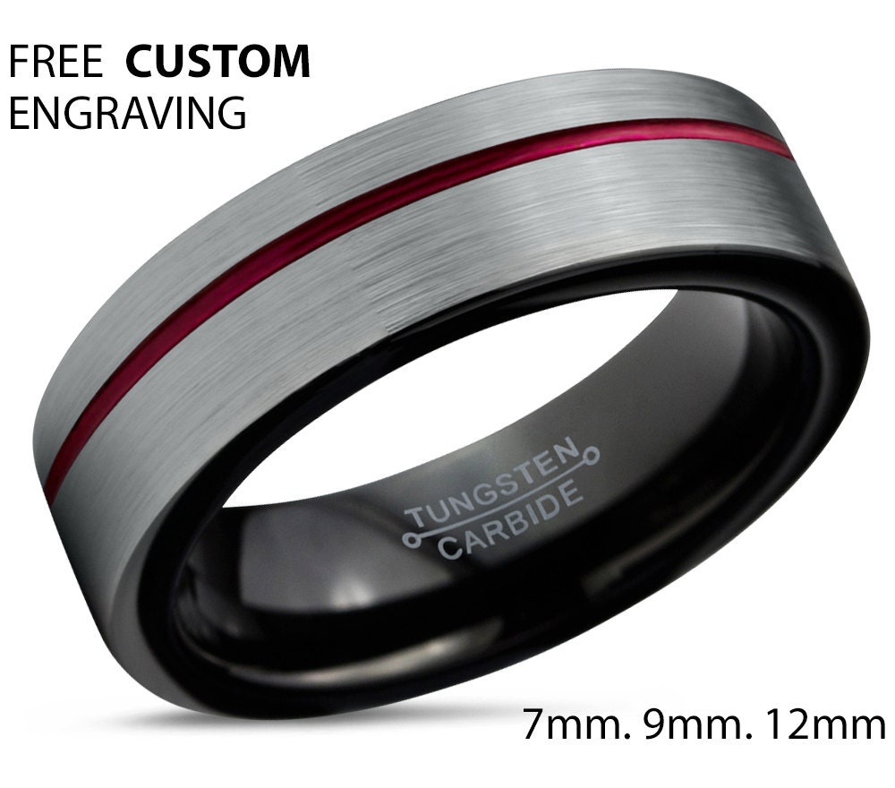 trio red bridal set ring black women s bands her garnet gold pin wedding his rings mens