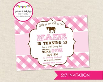 Pink Pony Birthday Invitation, Pink Pony Birthday, Pink Pony Printables, Pink Pony Birthday Decorations, Lauren Haddox Designs